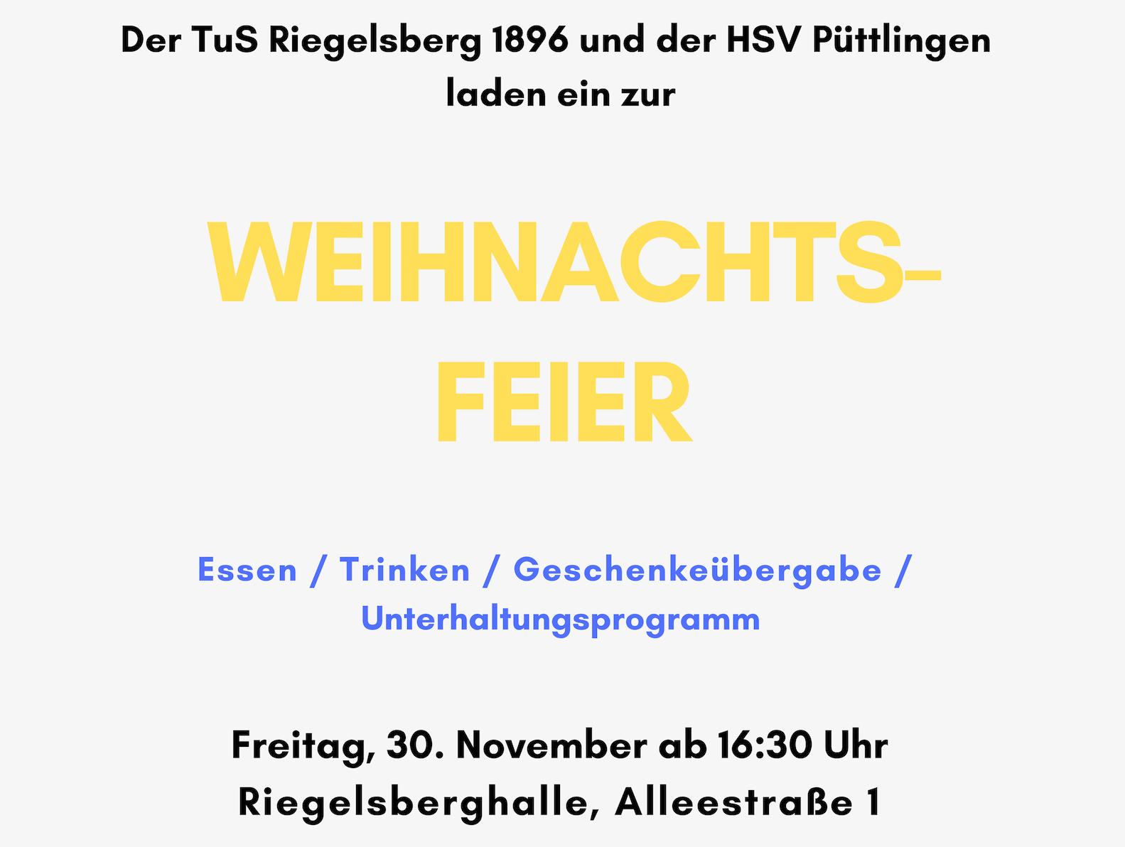 Einladung Weihnachtsfeier Verein.Einladung Zur Gemeinsamen Weihnachtsfeier Des Tus Riegelsberg Und